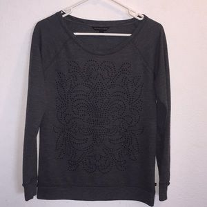 Rock & Republic Gray Long Sleeve Embellished Top